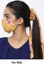 R-C3.2 Face Mask with Scrunchie Set - Washable - Flower - Orange for Kids