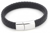 B105-003 Leather Bracelet with Stainless Steel Lock 19cm Black