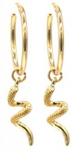 E-B20.4  E2019-032G Earrings Snake 2x5.5cm Gold