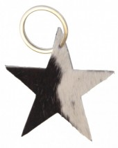 D-B15.1 Black Leather Cowhide Keychain Star Mixed Colors 8cm