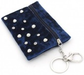 BAG1202-029 Velvet Keychain Wallet with Pearls and Crystals 13x9cm Green
