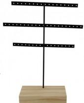 R-C2.1 Wood with Metal Earring Display 30x23x7cm Light Brown-Black