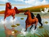 R-M3.2 GX567 Diamond Painting Set Horses 40x30cm