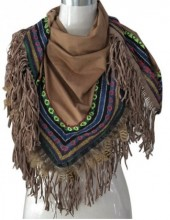 T-B7.3 Luxury Suedine Scarf with Tassels- Aztek Print and Feathers 200x75cm Brown