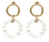 E-D18.5 E2019-005 Earring with Faceted Glass Beads Gold
