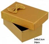 Z-F6.1 PK424-076 Giftbox for Jewelry 5x8x2.5cm Gold 24pcs