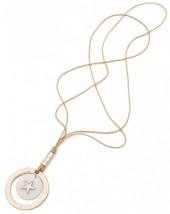 N104-007 Long Leather Necklace with Shell and Metal Star