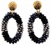 E-D19.4 Facet Glass Beads Earrings E007-001 Black-Grey 6x3cm