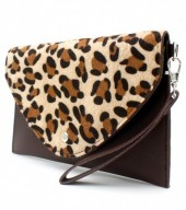 R-O7.1 BAG1202-020 PU Clutch with Leopard Print 24x15cm Dark Brown