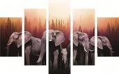 T-D3.2  FF026 Diamond Painting Set Elephants 5 Frames