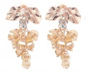 B-E22.2 E2019-007RG Earrings Faceted Glass Beads 40mm Brown-Rose Gold