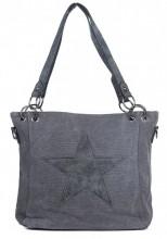 Q-M8.2  BAG017-010 Grey Canvas Bag With PU Star 35x26x12cm