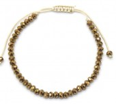 B-B15.1 B2039-012A Bracelet Faceted Glass Beads Gold