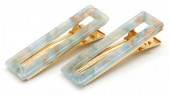 E-F3.1 H413-003 Hair Clip Set 2pcs Marble Blue