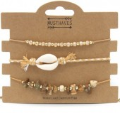 H-E18.3 B019-003 Bracelet Set 3 pcs with Shell and Stones Brown