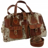 T-D6.1 Brown Leather Bag with Mixed color Cowhide 44x25x15cm