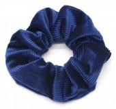 S-C6.4 H305-022D Rib Fabric Shiny Scrunchie Blue