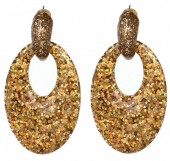 A-A5.6 Oval Earrings with Glitters 6x3.5cm Gold