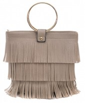 Y-B5.5 BAG010-002 PU Bag with Fringes Brown 26x22cm