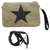 S-D6.1 BAG017-019 Beige Cross Body Canvas Bag With PU Star 30x21x5cm