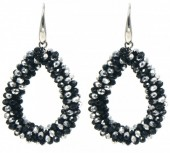 A-C19.2 E007-001 Facet Glass Beads 4.5x3.5cm Black-Silver