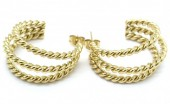B-A21.1 E2030-015G Stainless Steel Twisted Earrings 2.5cm Gold