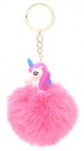 S-D5.2  KY2035-034H Fluffy Keychain Unicorn 8x3cm Pink