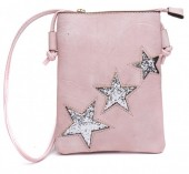 Q-I8.1 BAG012-001 PU Bag with Glitter Stars 25x15cm Pink