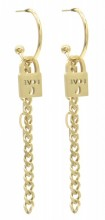 A-F23.2 E010-030G S. Steel Earrings Love Lock 2x7cm
