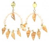 G-B17.1 E536-114A Earrings with Shells 6x4cm White