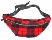 T-F7.1  BAG120-005 Trendy Waist Bag with Checkered Fabric Red