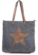 Q-K6.2 BAG017-018 Grey Canvas Bag With PU Star 43x31x16cm
