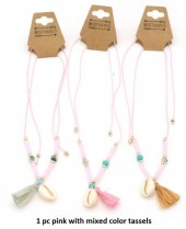 N019-004 Necklace with Shell and Mixed Colors Tassels 1pc Pink