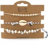 H-B4.1 B019-003 Bracelet Set 3pcs With stones and Shells Black-White