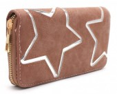 Q-P7.2 WA117-007 PU Wallet with Silver Stars 19x10cm Brown
