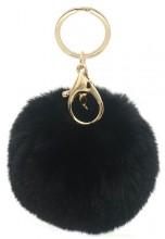 D-F22.1 KY414-004B Bag-Keychain Fluffy  9cm Black