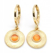B-A3.1  E426-003 Earrings 10mm with Charm 10mm Gold