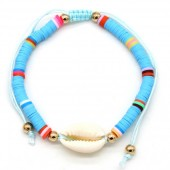 D-C9.1  B1925-009 Bracelet with Surf Beads and Shell Blue