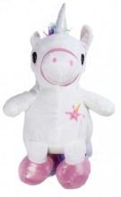 Y-C1.3  BAG416-004A Plush Backpack Unicorn White 40x18 cm