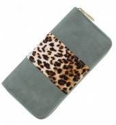 S-H6.1  WA008-001 Wallet with Leopard Print 19x10cm Green
