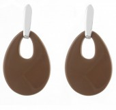 A-B8.1 E1757-001 Statement Earrings Silver- Brown