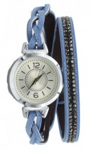 E-A5.6 W1202-001 PU Wrap Watch with Crystals Blue