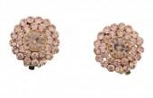 E-B1.5 Rose Gold Crystal Ear Clips 2cm