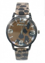 A-B8.2 W523-009C Quartz Watch With PU Strap Leopard 35mm Dark Brown