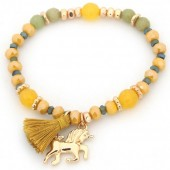 B-D3.2 B130-011 Elastic Bracelet with Unicorn Charm and Tassel Ocher Yellow