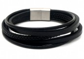 E-E9.2  B1642-015A S. Steel with Leather Bracelet 21cm BlackE-E9.2  B1642-015A S. Steel with Leather Bracelet 21cm Black