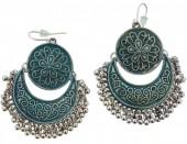 D-E25.8 Metal Earrings Silver Blue 7cm