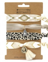 S-C7.5 H017-009C Hair Tie Set with Charms 4pcs