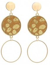 A-D4.2  E006-004 Earrings with Animal Print Gold-Brown