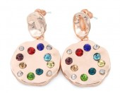 C-B7.4  E426-016 Earrings with Multi Color Crystals 35x20mm Rose Gold